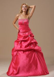 Puffy Strapless Beaded Coral Red Prom Gown Dress with Pick-ups