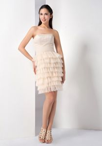 Graceful Tulle Champagne Prom Attire with Ruffled Layers in Rosehall