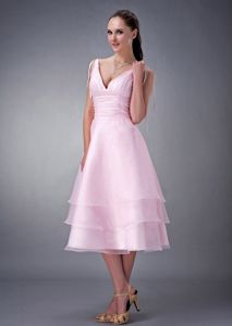 Beautiful Pink Organza V-neck Dress for Prom Tea-length in Reading