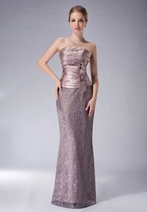 Lace Strapless Dresses for Prom with Ruched and Beaded Bodice