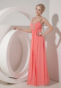 Beaded Spaghetti Straps Empire Floor-length Prom Gown Dress in Salmon