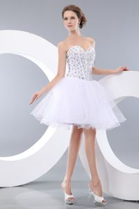 Lovely White Beaded Sweetheart Mini-length Junior Prom Dress in Boise ID