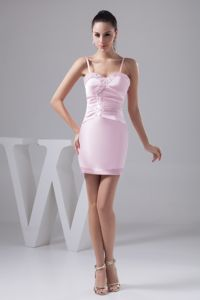 Cute Baby Pink Beaded Mini-length Prom Gown Dress with Spaghetti Straps