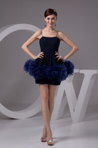 Lovely Navy Blue Spaghetti Straps Short Semi-formal Prom Dress with Flowers