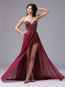 Burgundy Beaded Sweetheart High-low Dress for Formal Prom in Burley ID
