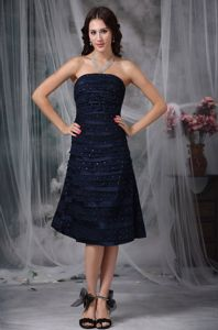 New Strapless Navy Blue Knee-length Ruched Formal Prom Dress with Beading