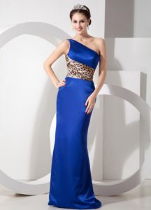 Leopard Print Satin One Shoulder Long Prom Dress for Summer in Blue