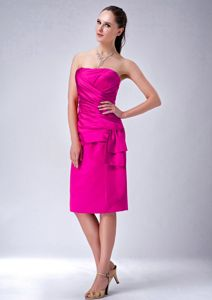 Piscataway USA Perfect Strapless Ruched Short Dress for Prom in Hot Pink