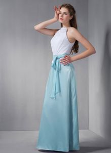 low Price Aqua Blue and White Long Prom Dress for Summer with Sash