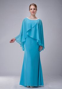 Plus Size Aqua Blue Long Chiffon Senior Prom Dress with Cape and Scoop Neck