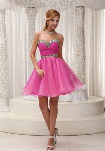 Pretty Leopard Print Puffy Organza Hot Pink Short Prom Dress for Juniors