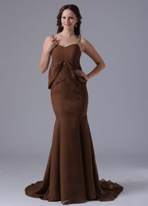 Mermaid Brown Informal Prom Dress with Spaghetti Straps in Bethel Connecticut