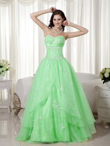 A-line Sweetheart Floor-length Beaded Prom Dresses in Apple Green