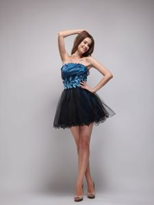 Strapless Mini-length Beaded Prom Dress in Navy Blue and Black in Renton