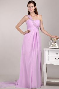 One Shoulder Baby Pink Beaded Prom Outfits with Watteau Train in Appleton