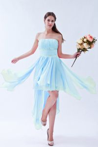 Strapless Chiffon Prom Gown Dress with Beading in Baby Blue in Racine