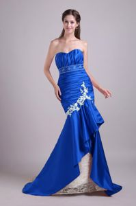 Royal Blue Mermaid Lace Beaded Prom Dress with Brush Train in Yakima