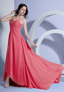 Watermelon Ruched Brush Prom Outfits with Spaghetti Straps in Fredericksburg