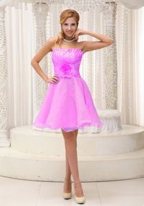 Strapless A-line Prom Dress with Ruffles and Hand Made Flower in Federal Way