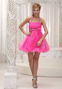 Beaded and Ruched Halter Short Dress for Prom in Hot Pink in Dawson