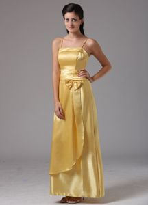 Yellow Spaghetti Straps Prom Dresses with Bowknot and Back Zipper