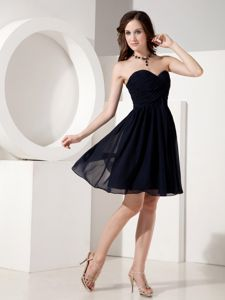 Chiffon Ruched Sweetheart Mini-length Black Prom Gown in Higdon