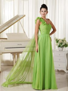 Spring Green One Shoulder Watteau Train Prom Outfits in Aliceville