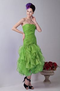 Strapless Spring Green Mermaid Tea-length Ruched Prom Dresses with Layers