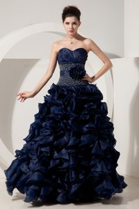 Beautiful Navy Blue Sweetheart Long Prom Dresses with Flower and Pick-ups