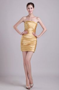 Modest Gold Ruched Mini-length Semi-formal Prom Dresses in Washington USA