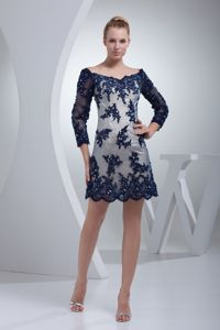 Navy Blue Lace Off The Shoulder 3/4 Sleeves Informal Prom Dress with Appliques