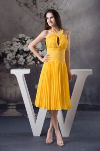 Yellow Beaded Halter Pleated Knee-length Prom Dress with Cutout in Bridger USA