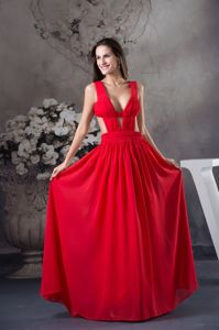 Sexy Chiffon Plunging V-neck Red Prom Dress with Cool Back in Ringwood NJ