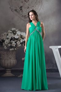 Clearance Green V-neck Long Chiffon Formal Prom Dress with Beading