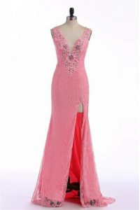 Popular Rose Pink Sleeveless Lace and Appliques Backless Prom Dresses