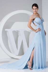Special Light Blue Chiffon Formal Prom Gown Dress with Sheer Neckline