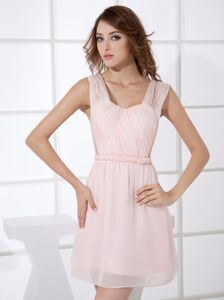 Dreamy Light Pink Mini Chiffon Prom Dresses with Straps for Wholesale
