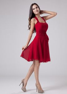 Sewell USA Halter Chiffon Semi-formal Dress for Prom in Wine Red with Sash