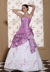 Hand Flowery Embroidered Prom Gown Dress with Beading in Galveston