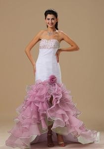 Mermaid Beaded Formal Prom Dress with Ruffles in White and Pink