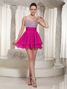 Hot Pink Beaded Mini-length Prom Dress with Spaghetti Straps in Brisbane