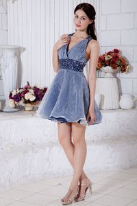 Wanted Organza Beaded and Ruched V-neck Prom Attire Mini-length