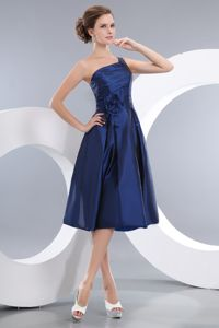 Navy Blue Single Shoulder Flower Accent Prom Outfits Knee-length