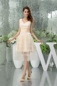 Simple Champagne Tulle V-neck Prom Dress in Magherafelt Tyrone