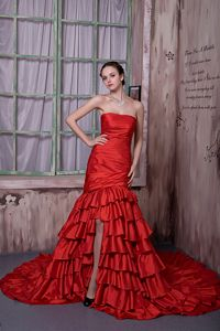Red Taffeta High Slit Strapless Prom Gown with Ruffled Layers New