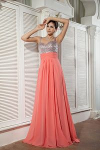 2014 Straps Watermelon Red and Silver Maxi Prom Dresses with Beading