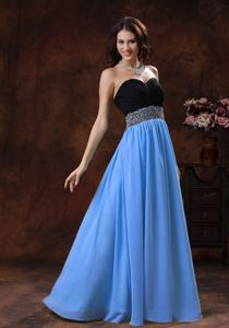2013 Baby Blue and Black Chiffon Maxi Prom Dresses with Beaded Waist