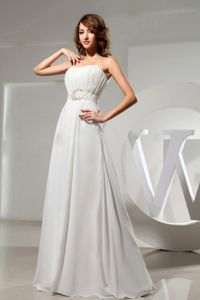 Plus Size White Long Prom Dress with Beaded Waist in Schuylerville NY