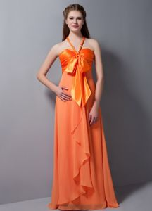 Halter Chiffon Orange Red Long Seniors Prom Dress with Bowknots