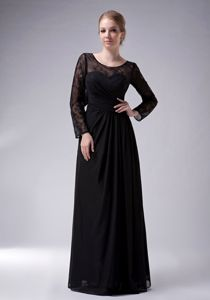 Scoop Neck Long Sleeves Black Formal Prom Gown Dress for Women
